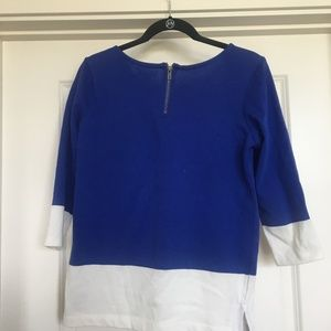 Blue and White Blouse Colorblock with zipper detai